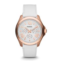 Fossil Cecile Multifunction Leather Watch – White with Rose