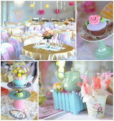 Princess Tea Party with SUCH CUTE Ideas via Kara's Party Ideas KarasPartyIdeas.com #GardenParty #princess #TeaParty #GirlyParty #PartyIdeas #PartySupplies