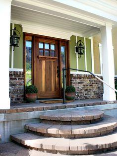 craftsman door with simple sidelights