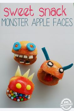 Monster Apple Faces - great snack or birthday party activity!