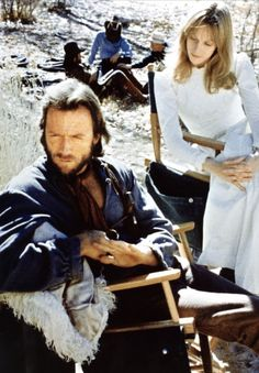 Sondra Locke and Clint Eastwood on the set of The Outlaw Josey Wales (1976)
