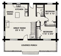 remove back door, slide kitchen to right (give dining room more space), convert bedroom in back to a laundry room/mechanics room.  Possibly do 3/4 loft (note dotted line) small kitchen floor plans, cabin floorplan, back doors, house floor plans, small cabin floor plans, cabin floor plans loft, loft house plans, small houses, 3 bedroom floor plan cabin