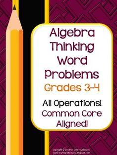 Algebra Thinking Common Core Word Problem Collection: Grade 3-4