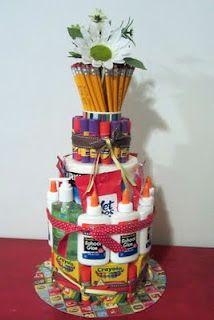 School supply cake for teachers gift