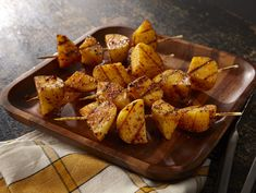 Grill potatoes to crispy perfection, then serve on skewers for a tasty side dish!