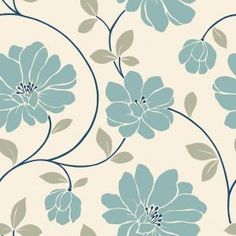 The Wallpaper Company 56 sq. ft. Blue and Cream Large Scale Retro Floral Trail Wallpaper-WC1282870 at The Home Depot