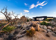 """This all-black house in the Yucca Valley desert was designed by Los Angeles office Oller & Pejic to look """"like a shadow"""" shadow, dream houses, desert hous, house extensions"""