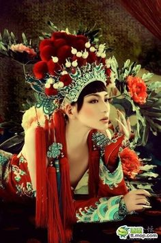 costumes, asian fashion, red, color, art, beauti, headpieces, china, fashion shoots
