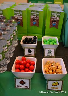 Themed treats at a Minecraft Birthday Party!  See more party ideas at CatchMyParty.com!