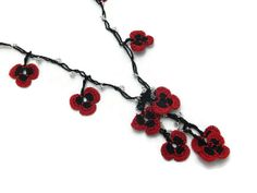 Crochet Flower Necklace Red and black Necklace with by Nakkashe, $22.00