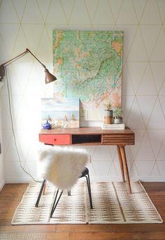 diy home decor, wall decor, office spaces, map desk vintage, vintage maps