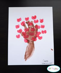 Valentine Craft with arm, handprint and thumbprints = love blossom tree