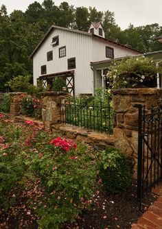 Front Yard Fences Design Ideas, Pictures, Remodel, and Decor - page 11. Stone wall with ironwork.