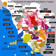 Zones of production for DOC & DOCG wines in Tuscany