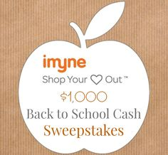$1,000 Back To School Cash Promotion  One winner will receive a $1,000 Back To School Cash from iMyne.  Organized by: Social Swayy ♥ with special guest: Mom to Bed by 8. Giveaway ends September 10th at 11:59pm, open to US, ages 18+. Only one entrant per household, per address. Winner is subject to eligibility verification.
