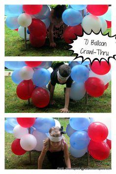 Craft, Interrupted: Ninjago / Ninja Birthday Party I like the balloon crawl through, also the noodle hurdles.