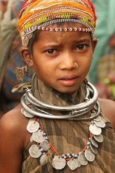 india - orissa.  Young Bonda Girl photographed at the market