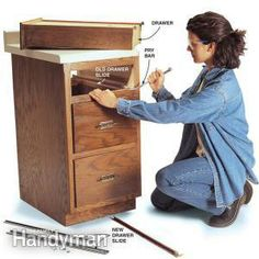 Fixing Drawers: How to Make Creaky Drawers Glide!  Replace worn-out slides with modern ball-bearing slides to make drawers glide in and out!