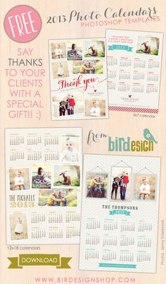 FREE 2013 Photoshop calendar templates via birdesignshop.com