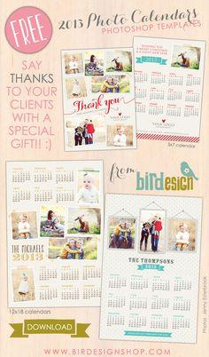 FREE 2013 Photoshop calendar templates via birdesignshop.com