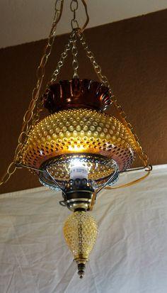 vintage amber hobnail hurricane hanging light lamp swag by gleaned,