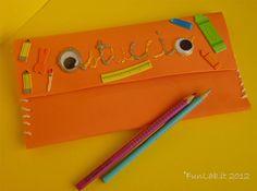 Foam pencil case decorated by my kids - http://blog.funlab.it/2012/08/ritorno-a-scuola-lastuccio-di-gomma-crepla-fai-da-te/