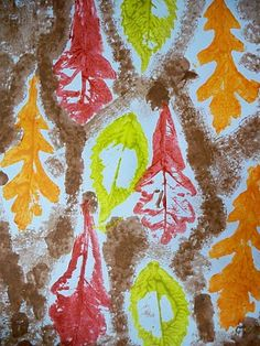 Kindergarten fall leaf picture from the we heart art blog