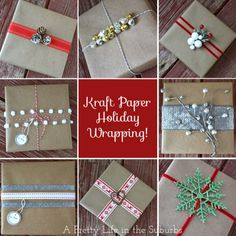 paper gifts, brown paper packages, wrapping gifts, kraft paper, diy gifts, handmade gifts, christmas gift wrapping, holiday gifts, christmas wrapping