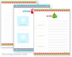Free Printable Christmas Wish Lists. Fun activity for kids to send to Santa or Grandparents! LivingLocurto.com