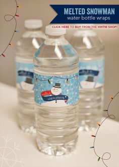 Great for kids parties at school if you have to supply the bottled water!  Melted Snowman Water Bottle Labels #HWTM #printables #holiday