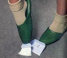Broom and dust pan slippers, for lazy people.