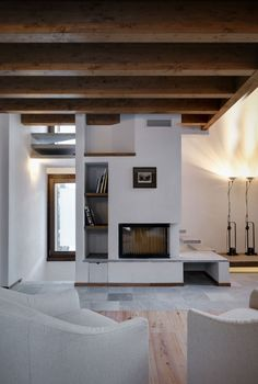 Redesigned Small House in Italia: Contemporary Touch For Casa UP House Living Room With Sleek Fireplace With Shelving Nearby To Store And Di...