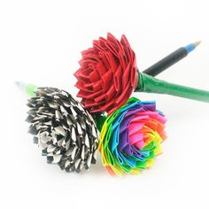 DIY- Duct Tape Roses- Kids love making these! They may look difficult but they are super easy!