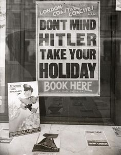 Window display in a London travel agency, 1939.