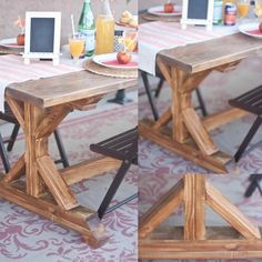 Beautiful DIY table - love the custom stain mixed up for this table!