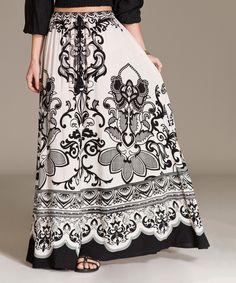 Khaki & Black Pop Damask Maxi Skirt