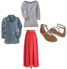 Transitional outfit under $100: Maxi skirt, striped shirt, chambray button-down, sandals