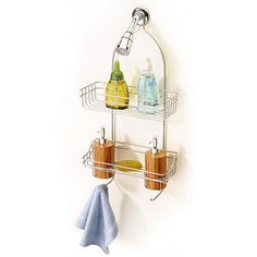 Shower Caddy with Bamboo Accessories, Satin Nickel