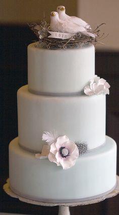 Pale aqua fondant cake with nesting love doves cake topper, sugar hydrangea petals, and white anemone, K. Rose Cakes