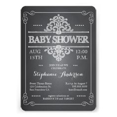 A fun and trendy invitation to a baby shower for the mom-to-be features a chalkboard effect, with lettering that has the popular look of being written in chalk on a black board. With an eclectic mixture of font and style, in gender neutral white, the look is playful and welcoming - just perfect for a baby shower for a either a boy or a girl - or when baby's gender will be a surprise. #baby #shower #chalkboard #chalk #country #vintage #white #baby #neutral #gender #boy #or #girl #rustic ...
