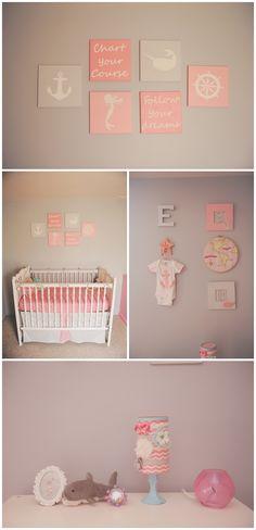 Coral and Gray Nautical Themed baby girl nursery