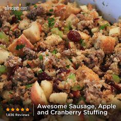 holiday, cook, sausag, thanksgiv, stuffing recipes, food, apples, cranberries, cranberri stuf