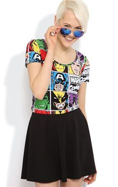 Deb Shops Short Sleeve Crop Top with #Marvel #Comics Print $13.30