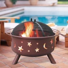 #FancyFinds $190 - Big Sky Stars & Moons Firepit  The portable, lightweight design makes it easy to transport out to the resident #pool deck for these cool #autumn evenings!