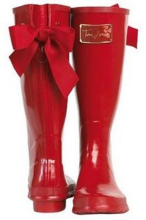 Let it rain! rainboot, fashion, red boot, cloth, style, rain boot, bows, shoe, boots