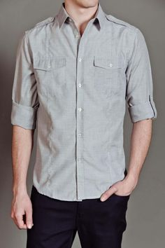 Carapace Pocket Solid Button Up Shirt Grey