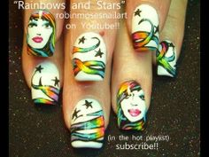 GIRL NAIL ART with Rainbow Hair STARS on White Nails