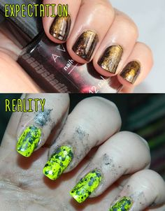 Pigment Blowing Grunge Manicure. | 15 Pinterest Nail Artists Who Aimed So High But Failed So Hard