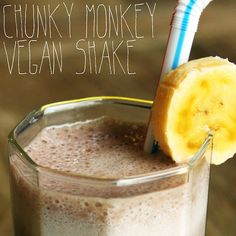 Vegan Chunky Monkey Shake: (150 calories/serving)  1 medium banana  1 tablespoon peanut butter  1 cup of chocolate almond milk  1 cup of cubed ice  Blend all ingredients together and pour into two glasses for deliciousness that satisfies that chocolate craving.