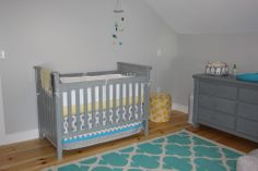 Project Nursery - Gray Crib and Heart Mobile